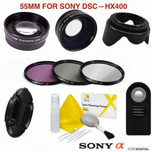 CPL 55mm Circular Polarizer Multicoated Glass Filter for Sony Cyber-Shot DSC-HX400 Microfiber Cleaning Cloth